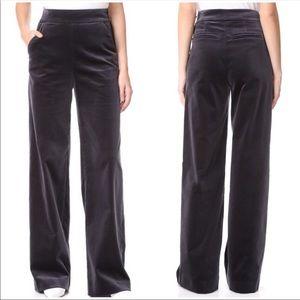 Frame | Velvet charcoal high waist wide leg pants